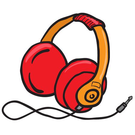 earphones: red earphones cartoon illustration
