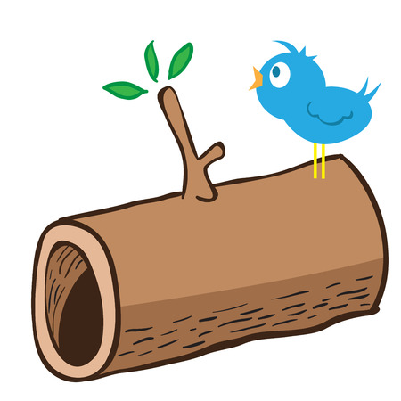 wood log: cartoon illustration of  wood log and a bird singing on it
