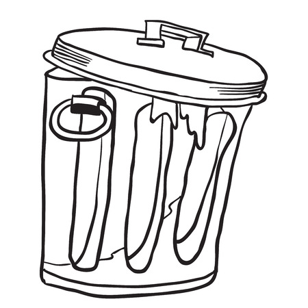 decomposition: simple black and white garbage can cartoon