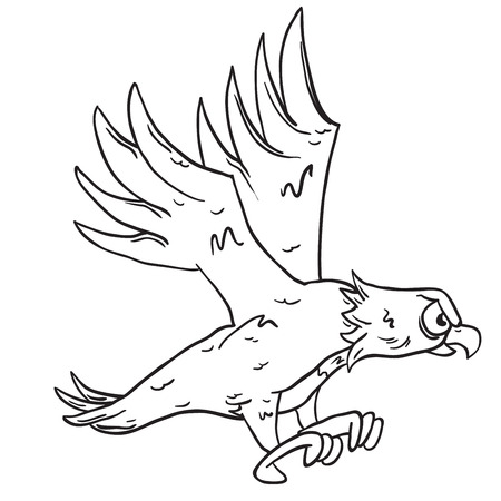 carnivores: simple black and white eagle cartoon