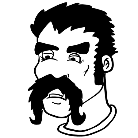 white moustache: simple black and white moustache man cartoon Illustration