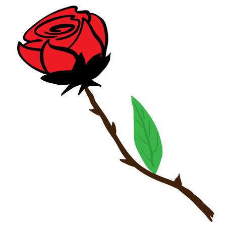 freshens: rose cartoon illustration isolated on white Illustration