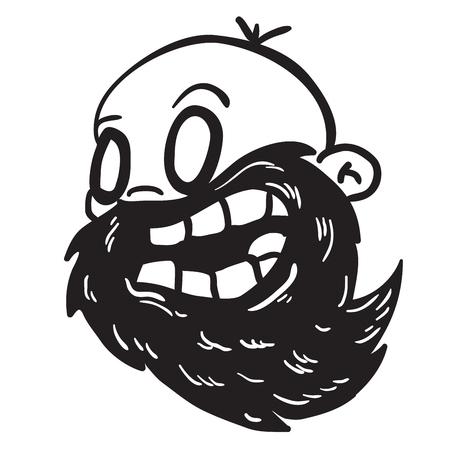 bald man: simple black and white bearded bald man cartoon