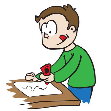 little boy gluing paper cartoon