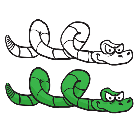 anaconda: green snake cartoon isolated on white