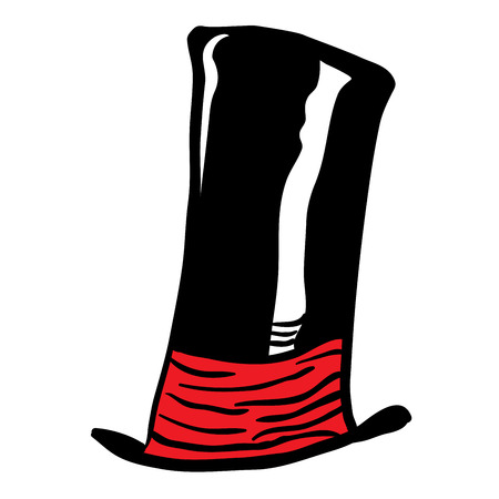 times up: black top hat with red scarf cartoon doodle isolated on white