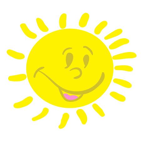smiling sun: smiling sun cartoon doodle Illustration