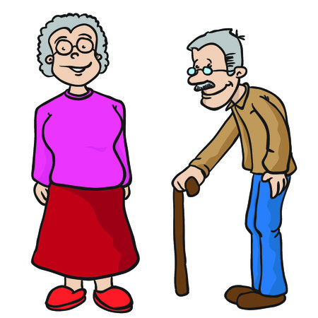 happy mature couple: grandparents cartoon illustration isolated on white Illustration