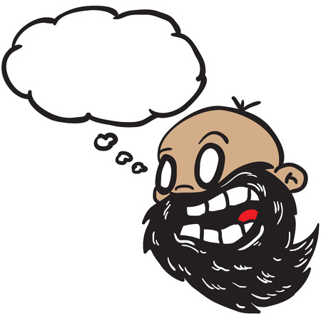 bald man: bearded bald man with thought bubble cartoon Illustration