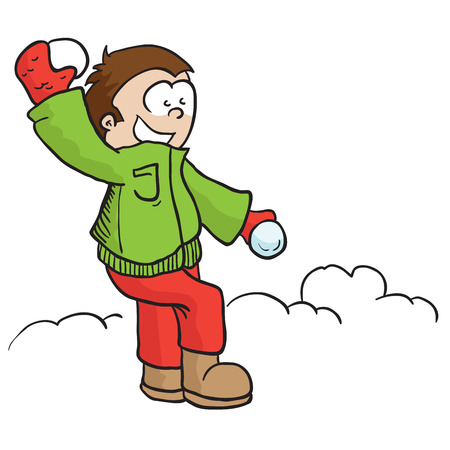 throwing: boy throwing snowball cartoon illustration