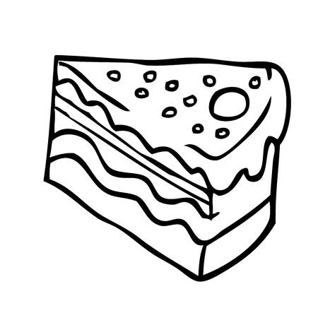 piece of cake: pedazo blanco y negro simple de la historieta de la torta Vectores