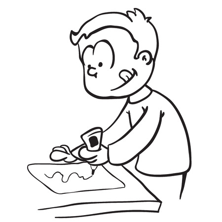 simple black and white little boy gluing paper cartoon
