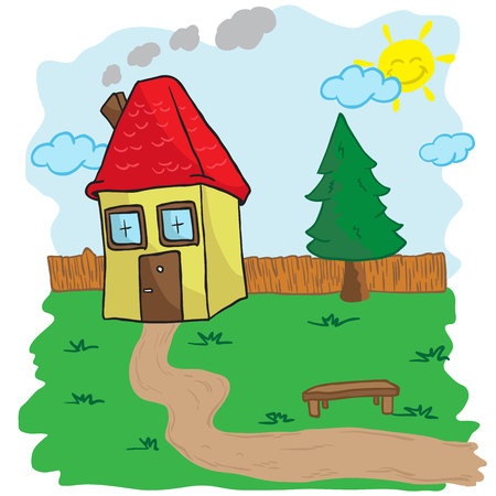 peacefull: house with yard and bench cartoon illustration