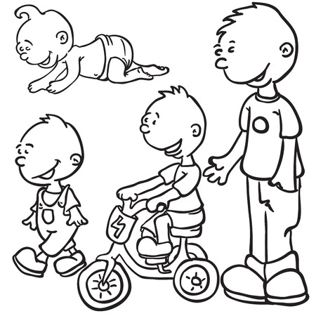 growing up: little boy growing up black and white cartoon doodle Illustration