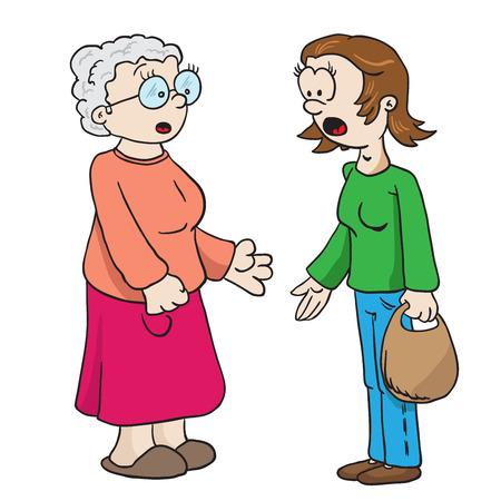母と祖母の話を白で隔離漫画イラスト  イラスト・ベクター素材