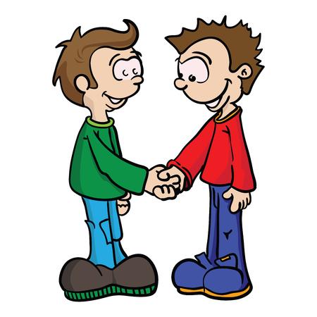 mates: cartoon illustration of two boys shaking hands
