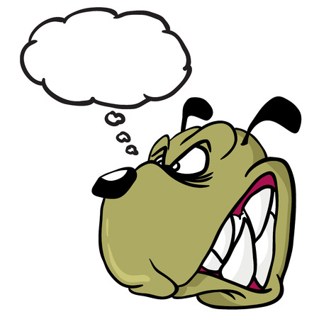 beware of dog: angry dog with thought bubble cartoon