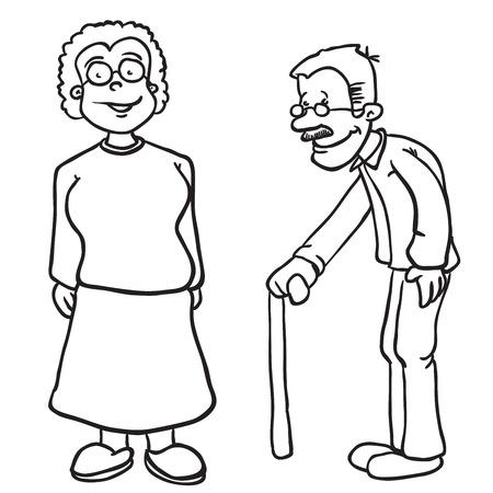 maturity: simple black and white grandparents cartoon