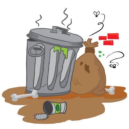 decomposition: garbage cartoon illustration