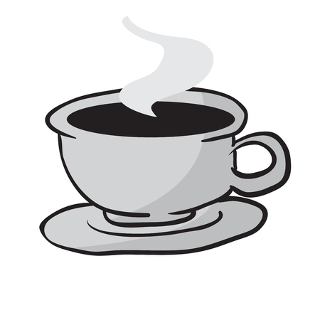 steaming coffee cup isolated on white illustration 일러스트