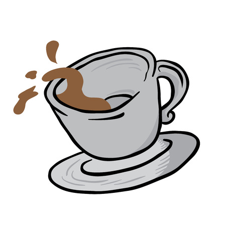 coffee spill: coffee cup spill cartoon illustration