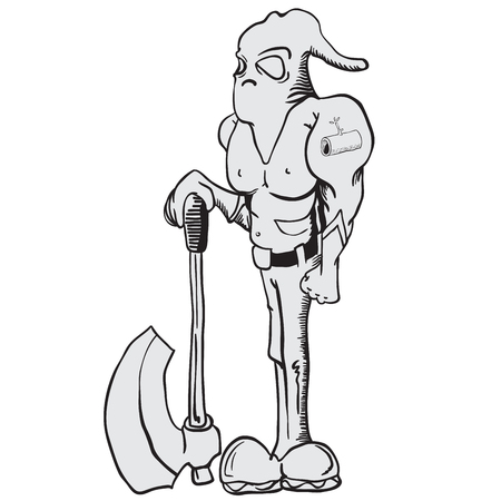 punisher: cartoon illustration of executioner with an axe