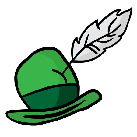 hat with feather: green hat with feather