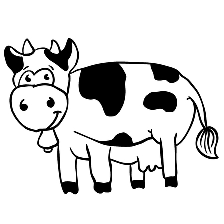 graze: simple black and white cow cartoon
