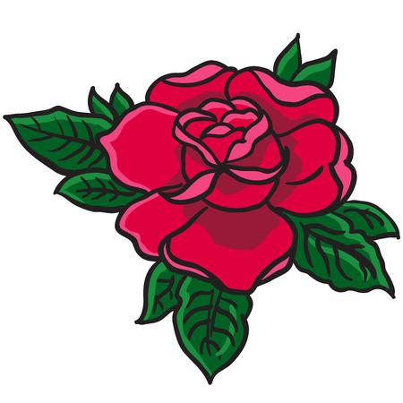 tatouage fleur: rede rose bande dessin�e