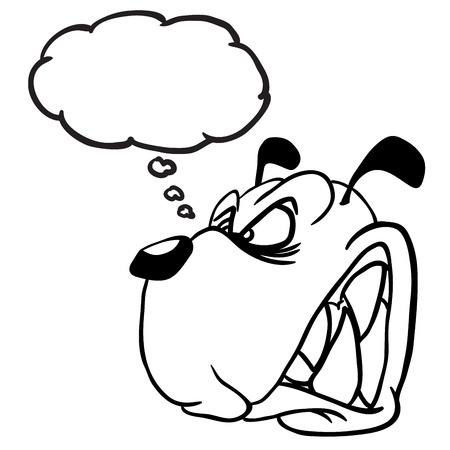 beware of dog: simple black and white angry dog with thought bubble