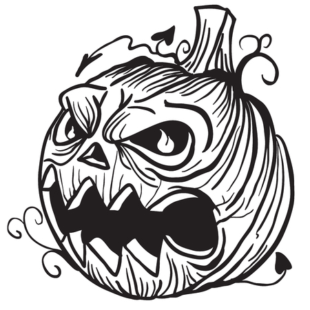 pumpkin head: simple black and white pumpkin head cartoon Illustration