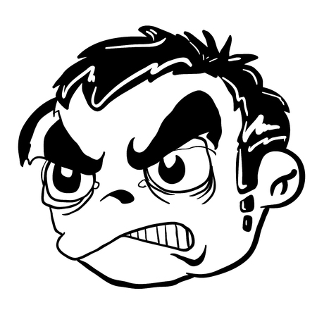 balck and white: simple balck and white angry boy cartoon head