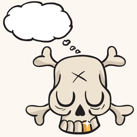 cute skull: cute skull with golden tooth and thought bubble cartoon Illustration