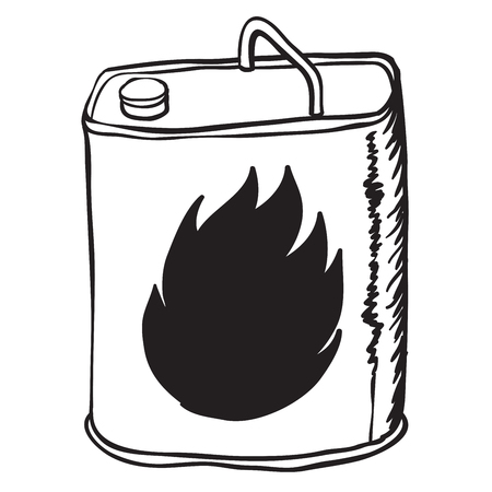 petrol bomb: simple black and white gasoline can cartoon