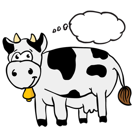 cow bells: cow with thought bubble cartoon Illustration