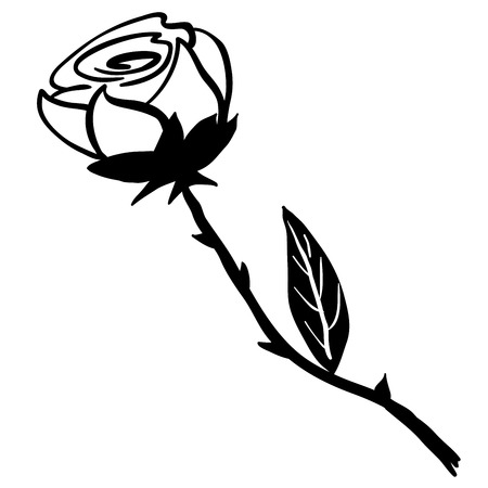 freshens: simple black and white rose cartoon