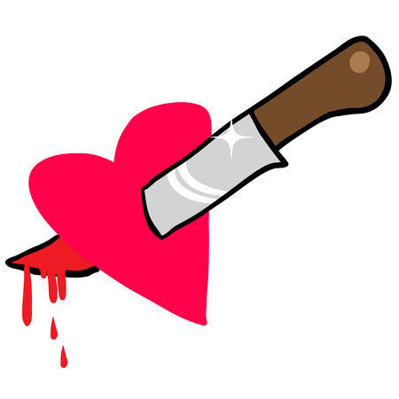 pierce: knife through heart cartoon illustration