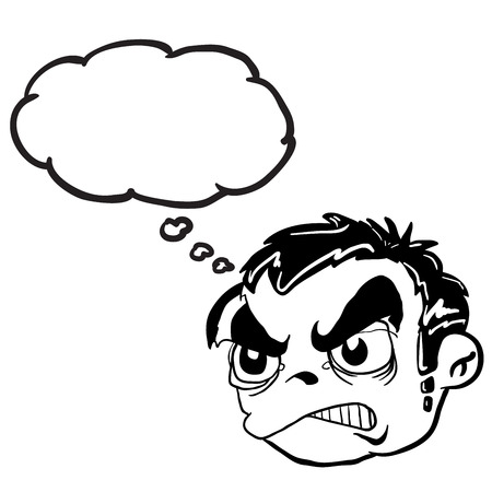 angry boy: simple black and white angry boy head with thought bubble