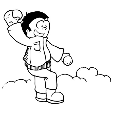 snowball: simple black and white boy with snowball cartoon