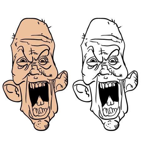 老人の狂った顔を叫んでください。  イラスト・ベクター素材