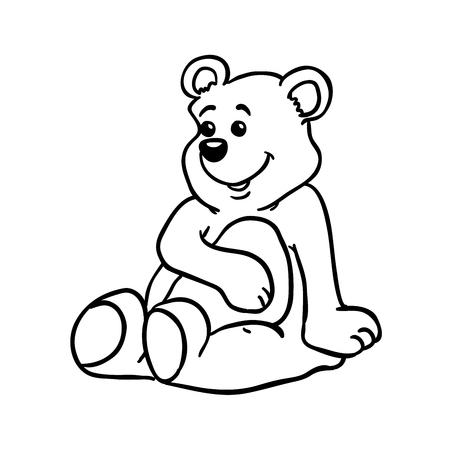 ourson: simple, dessin animé ours noir et blanc Illustration