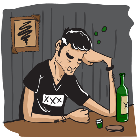 alone man: sad man drinking at a bar cartoon illustration