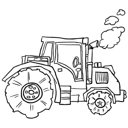 agronomics: tractor doodle cartoon ilustration
