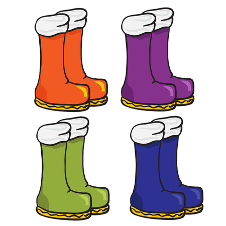 galoshes: four pair of boots cartoon doodle