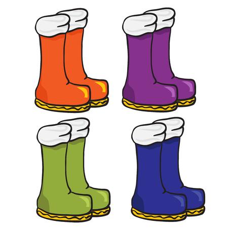 four pair of boots cartoon doodle