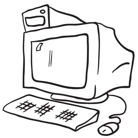 pc case: simple black and white computer cartoon Illustration