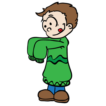 ni�os vistiendose: little boy in big colthes cartoon