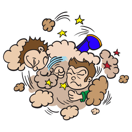 sibling rivalry: cartoon illustration of  two boys fighting in a cloud of dust Illustration