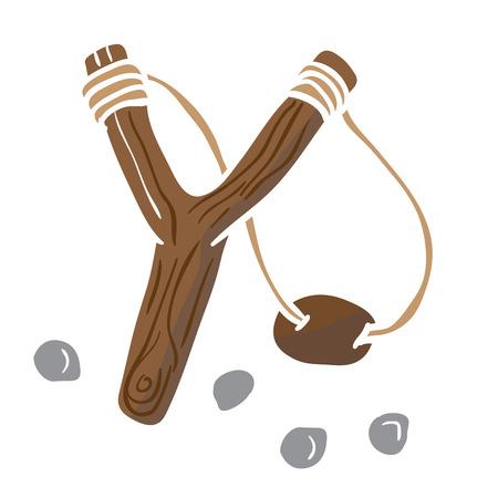 simple slingshot cartoon Ilustração