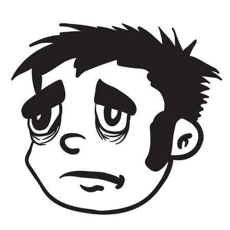 sad boy: simple black and white sad boy cartoon